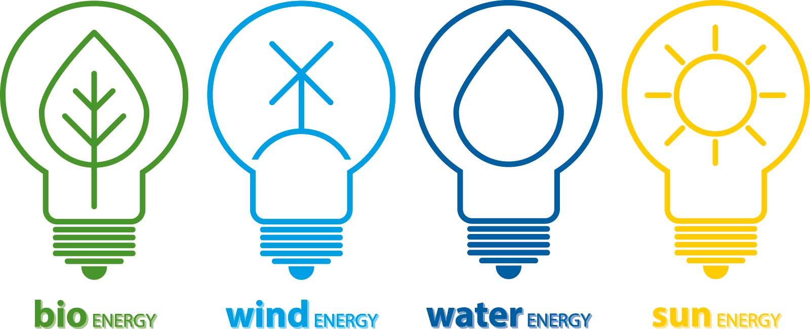 bio energy - wind energy - water energy - sun energy